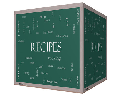 Recipes Word Cloud Concept on a 3D cube Blackboard with great terms such as cooking, measure, chop, grill and more.