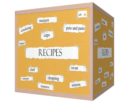 Recipes 3D cube Corkboard Word Concept with great terms such as salt, cups, measure and more. Stock Photo