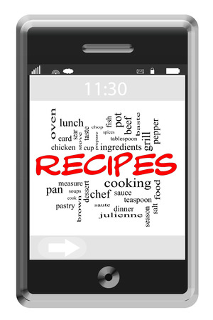 Recipes Word Cloud Concept of Touchscreen Phone with great terms such as chef, cooking, prepare and more. photo