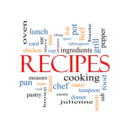 Recipes Word Cloud Concept with great terms such as cooking, measure, chop, grill and more.