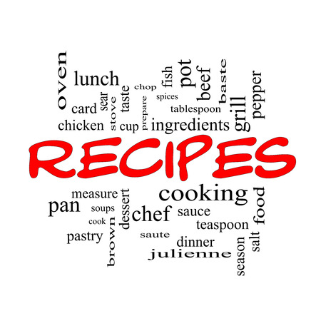 Recipes Word Cloud Concept in red caps with great terms such as cooking, measure, chop, grill and more.