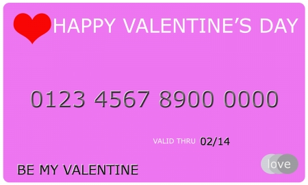 An imitation Happy Valentines Day Credit Card with 0214 on it for the date and be mine and love making a great concept. photo