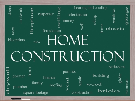 Home Construction Word Cloud Concept on a Blackboard with great terms such as new, building, permits, money and more. photo