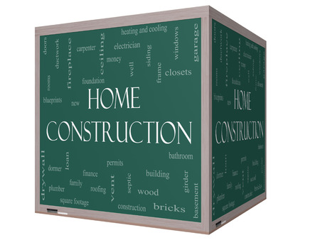 Home Construction Word Cloud Concept on a 3D cube Blackboard with great terms such as new, building, permits, money and more. photo