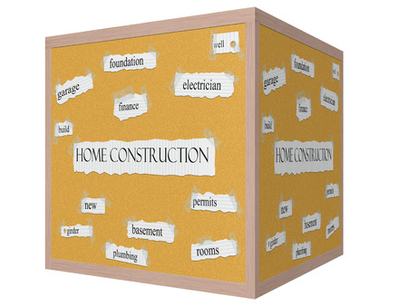 permits: Home Construction 3D cube Corkboard Word Concept with great terms such as garage, foundation, well and more. Stock Photo