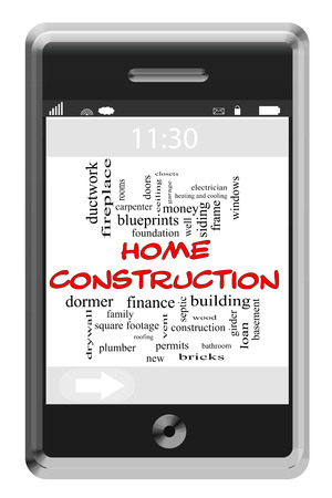 Home Construction Word Cloud Concept of Touchscreen Phone with great terms such as build, roof, new, family and more. photo