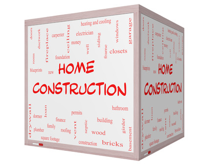 permits: Home Construction Word Cloud Concept on a 3D cube Whiteboard with great terms such as new, building, permits, money and more.
