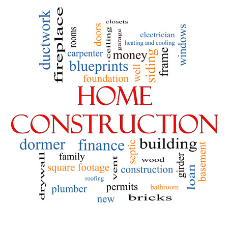 Home Construction Word Cloud Concept with great terms such as new, building, permits, money and more. photo
