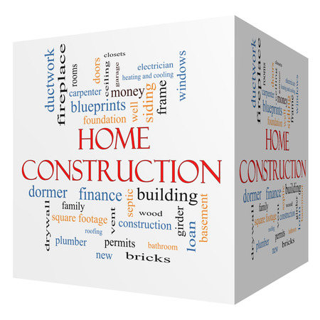 Home Construction 3D cube Word Cloud Concept with great terms such as new, building, permits, money and more. photo