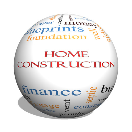 permits: Home Construction 3D sphere Word Cloud Concept with great terms such as new, building, permits, money and more.