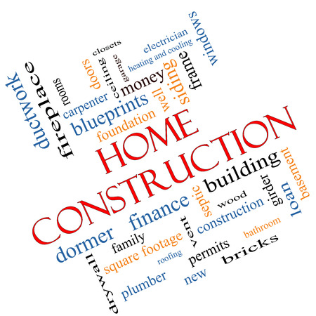 Home Construction Word Cloud Concept angled with great terms such as new, building, permits, money and more. photo