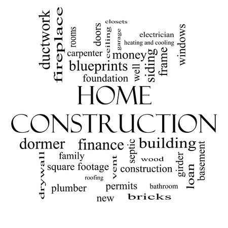 permits: Home Construction Word Cloud Concept in black and white with great terms such as new, building, permits, money and more. Stock Photo