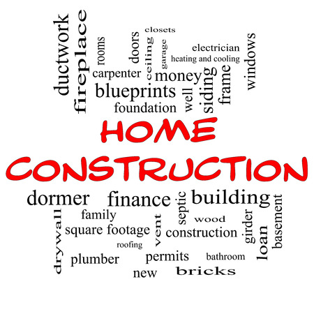 Home Construction Word Cloud Concept in red caps with great terms such as new, building, permits, money and more. photo