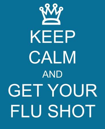 차분한 상태를 유지하고 독감 예방 주사를 맞으십시오. 파란색 기호에 작성된 크라운을 사용하면 훌륭한 개념을 만들 수 있습니다.