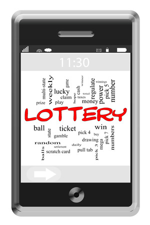 gas ball: Lottery Word Cloud Concept of Touchscreen Phone with great terms such as play, win, prizes and more.