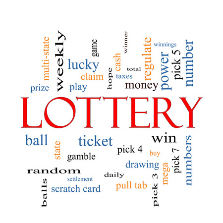 Lottery Word Cloud Concept with great terms such as play, win, tickets, numbers and more. photo