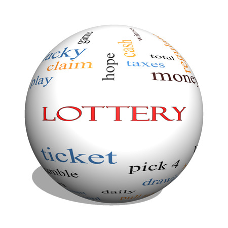 Lottery 3D sphere Word Cloud Concept with great terms such as play, win, tickets, numbers and more. photo