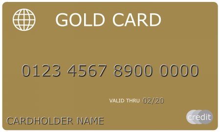 An imitation Gold Credit Card complete with numbers, valid thru date, and cardholder name. Imagens