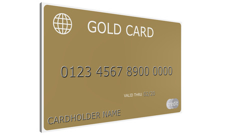 An imitation 3D Gold Credit Card complete with numbers, valid thru date, and cardholder name.