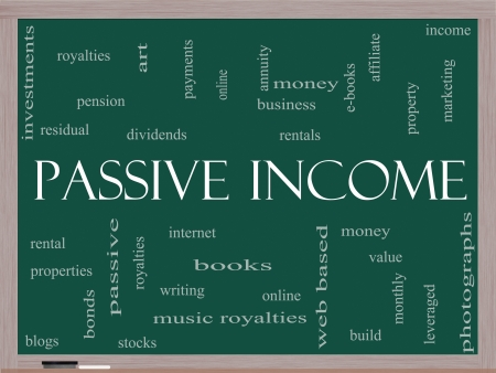 residual income: Passive Income Word Cloud Concept on a Blackboard with great terms such as rental, royalties, dividends and more.