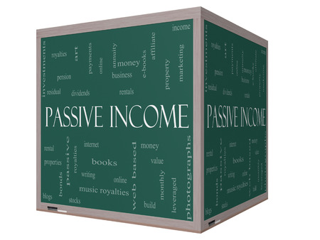 passive income: Passive Income Word Cloud Concept on a 3D cube Blackboard Stock Photo