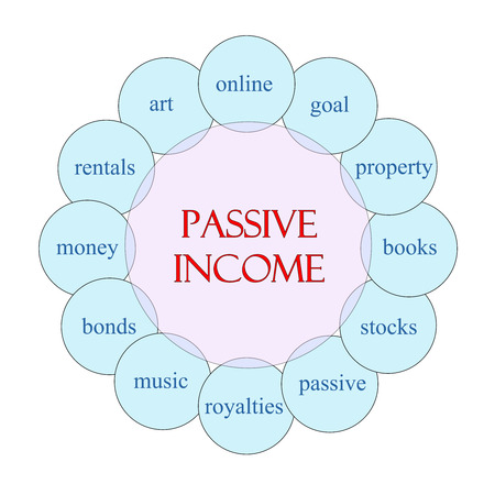 passive income: Passive Income concept circular diagram in pink and blue