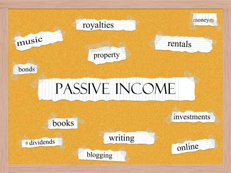 passive income: Passive Income Corkboard Word Concept