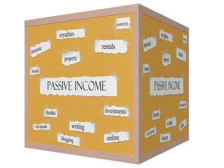 Passive Income 3D cube Corkboard Word Concept