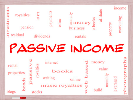 residual income: Passive Income Word Cloud Concept on a Whiteboard with great terms such as rental, royalties, dividends and more.