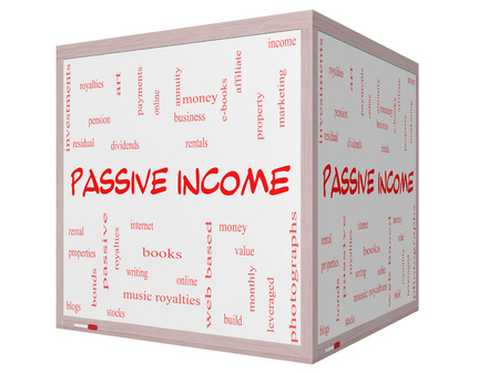 Passive Income Word Cloud Concept on a 3D cube Whiteboard with great terms such as rental, royalties, dividends and more. Stock Photo