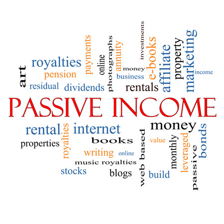 residual income: Passive Income Word Cloud Concept Stock Photo