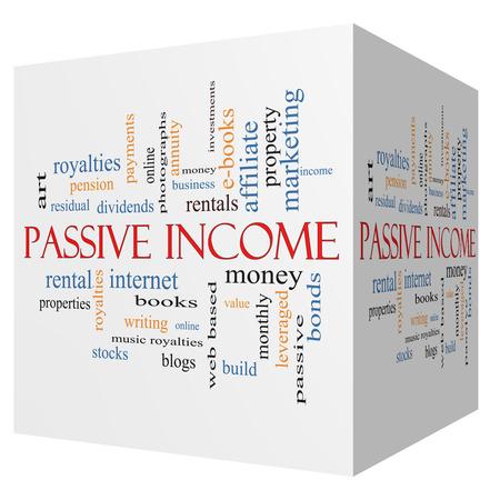 Passive Income 3D cube Word Cloud Concept Stock Photo - 25347837