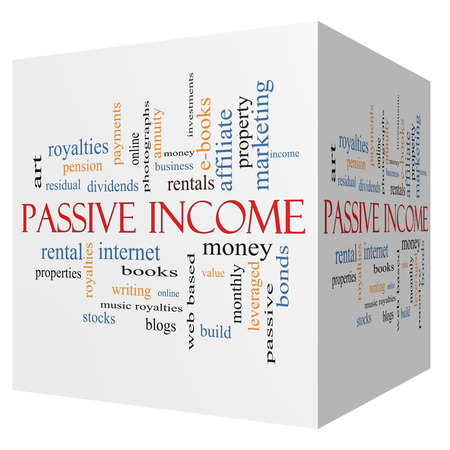 passive income: Passive Income 3D cube Word Cloud Concept