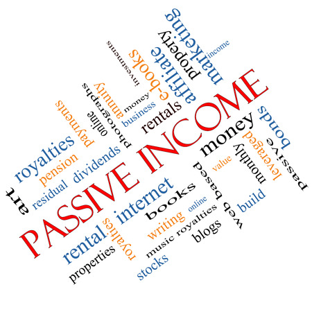 passive: Passive Income Word Cloud Concept Stock Photo
