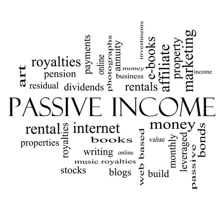 passive income: Passive Income Word Cloud Concept Stock Photo
