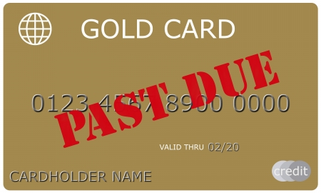 cardholder: An imitation Gold Credit Card with PAST DUE stamped in red on it complete with numbers, valid thru date, and cardholder name.