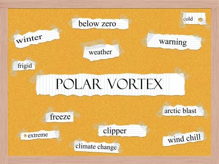 Polar Vortex Corkboard Word Concept Stock Photo
