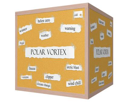 frigid: Polar Vortex 3D cube Corkboard Word Concept