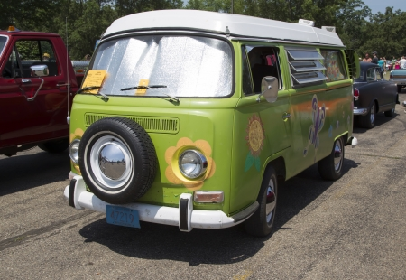 IOLA, WI - JULY 13:  Full view of 1968 VW Hippie Camper Special Van at Iola 41st Annual Car Show July 13, 2013 in Iola, Wisconsin.
