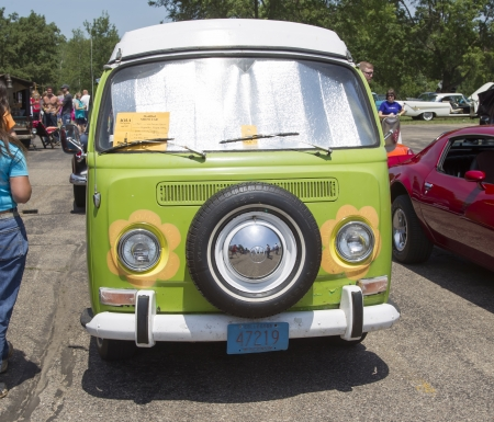 IOLA, WI - JULY 13:  Front of 1968 VW Hippie Camper Special Van at Iola 41st Annual Car Show July 13, 2013 in Iola, Wisconsin.