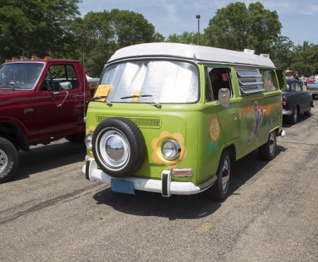 IOLA, WI - JULY 13:  1968 VW Hippie Camper Special Van at Iola 41st Annual Car Show July 13, 2013 in Iola, Wisconsin.