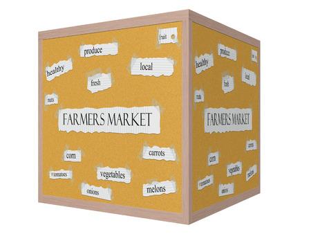Farmers Market 3D cube Corkboard Word Concept