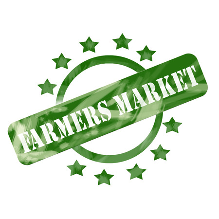 A green ink weathered roughed up circle and stars stamp design with the words FARMERS MARKET on it making a great concept. photo