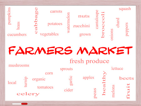 Farmers Market Word Cloud Concept on a Whiteboard photo