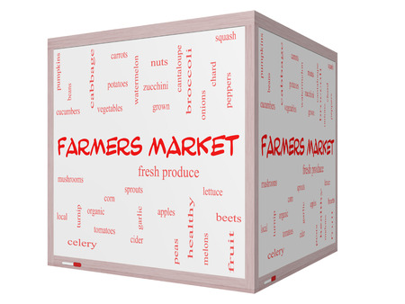 Farmers Market Word Cloud Concept on a 3D cube Whiteboard photo
