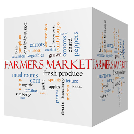Farmers 3D cube Market Word Cloud Concept photo