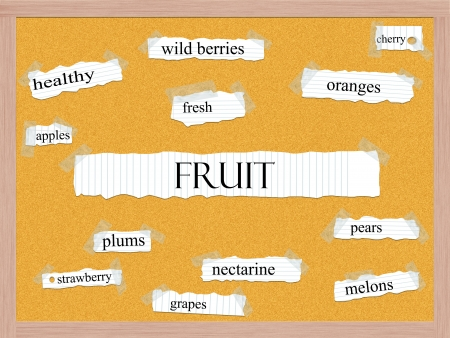 Fruit Corkboard Word Concept with great terms such as fresh, wild berries, cherry and more. Stock Photo