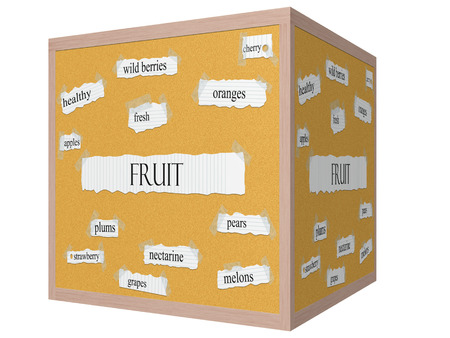 Fruit 3D cube Corkboard Word Concept with great terms such as fresh, wild berries, cherry and more.
