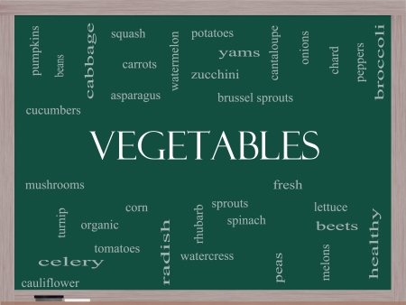 Vegetables Word Cloud Concept on a Blackboard with great terms such as lettuce, beets, corn and more. photo