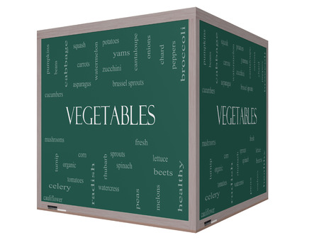 Vegetables Word Cloud Concept on a 3D cube Blackboard with great terms such as lettuce, beets, corn and more. photo